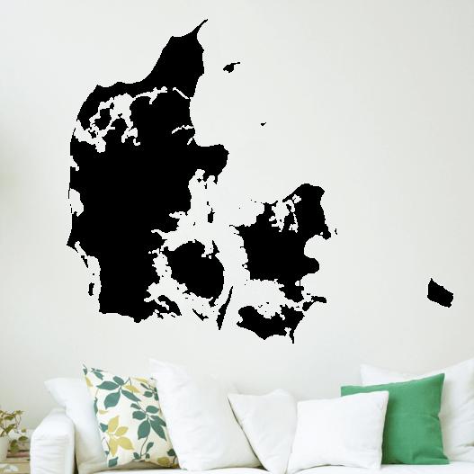 Danmarkskort wallsticker