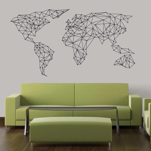 Geometrisk verdenskort wallsticker