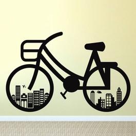 Herrecykel i byen wallsticker