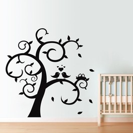 Turtelduer i træ wallsticker