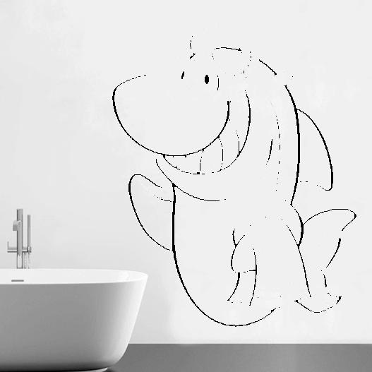 Smilende haj wallsticker