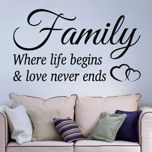 Family where life begins & love never ends wallsticker