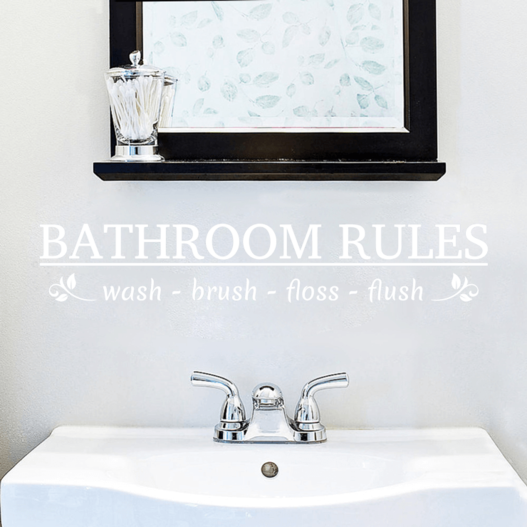 Bathroom rules (badeværelses regler) wallsticker