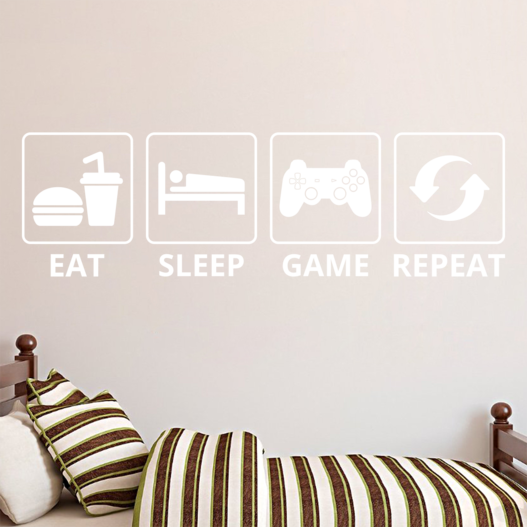 Eat sleep game repeat wallsticker