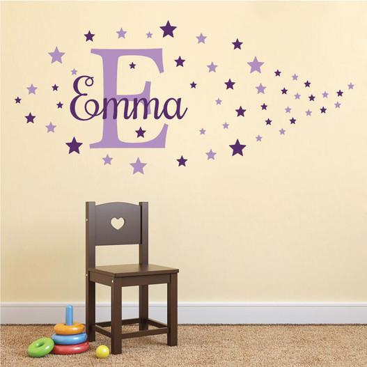 Navn med stjerner Emma wallsticker