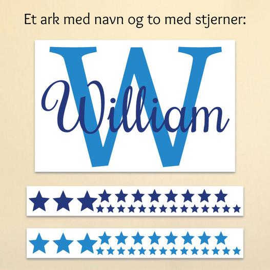 Navn med stjerner der modtages et ark med navn og 2 ark med stjerner