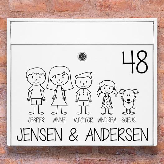 #1 familie wallsticker til postkasse hvid