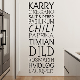 Krydderier wallsticker