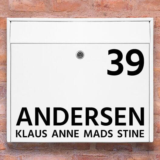 Postkasse stickers – #1 navn wallsticker til postkasse