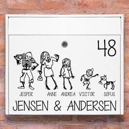 #1 Zombie familie wallsticker til postkasse hvid
