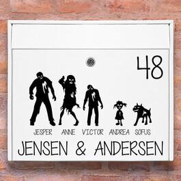 Postkasse stickers - #2 Zombie familie wallsticker til postkasse