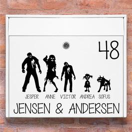 #2 Zombie familie wallsticker til postkasse hvid