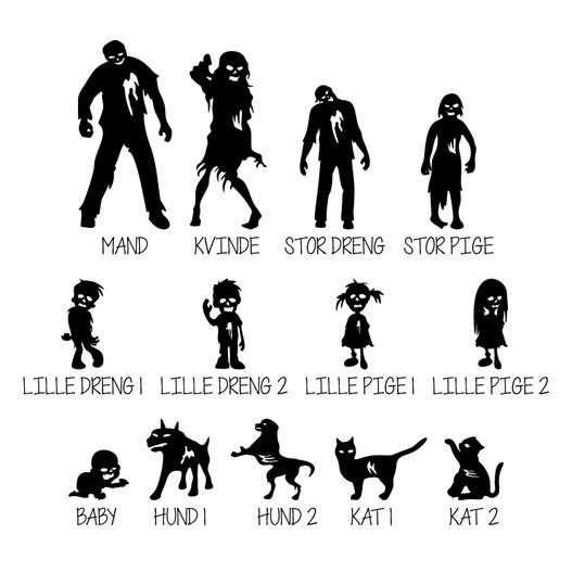 #2 Zombie familie wallsticker til postkasse figurer