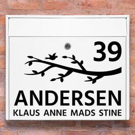 Postkasse stickers - Gren wallsticker til postkasse