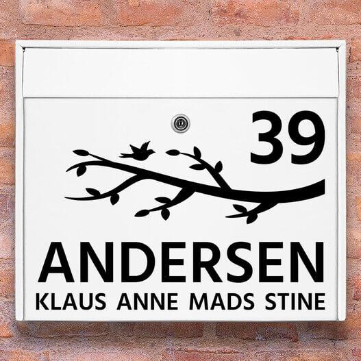Postkasse stickers – Gren wallsticker til postkasse