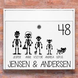 Skelet familie wallsticker til postkasse