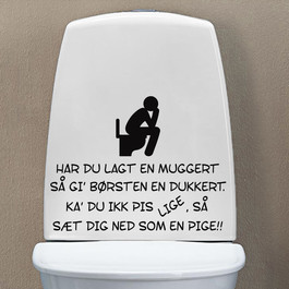 Toilet joke wallsticker, sjov wallstickers til toilettet