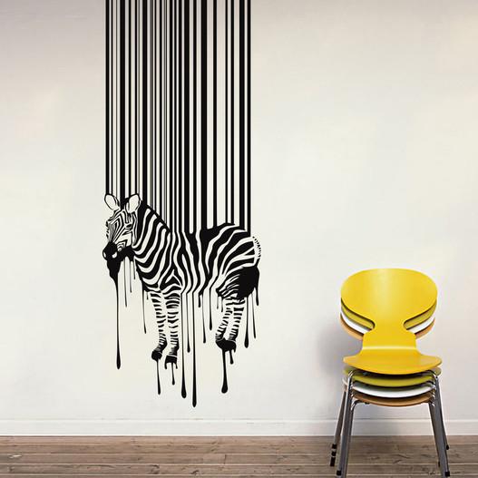 Zebra med stregkode wallsticker