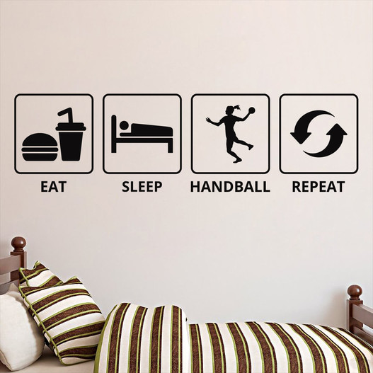 Eat sleep handball repeat for pigen der elsker håndbold wallsticker