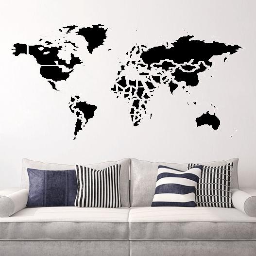 Verdenskort med grænser wallsticker