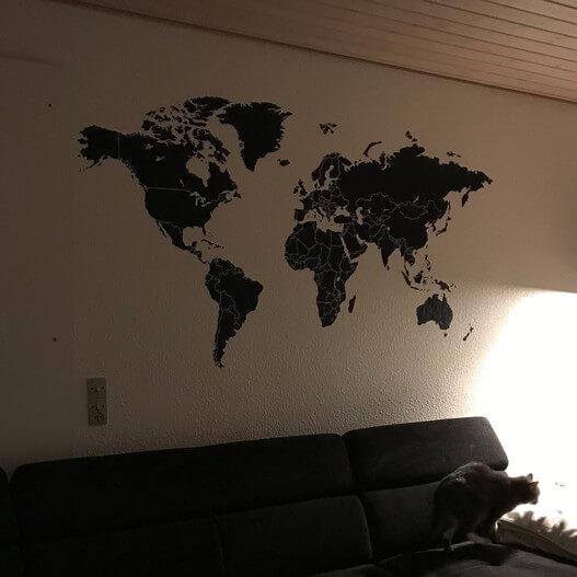 Wallsticker verdenskort kundebillede