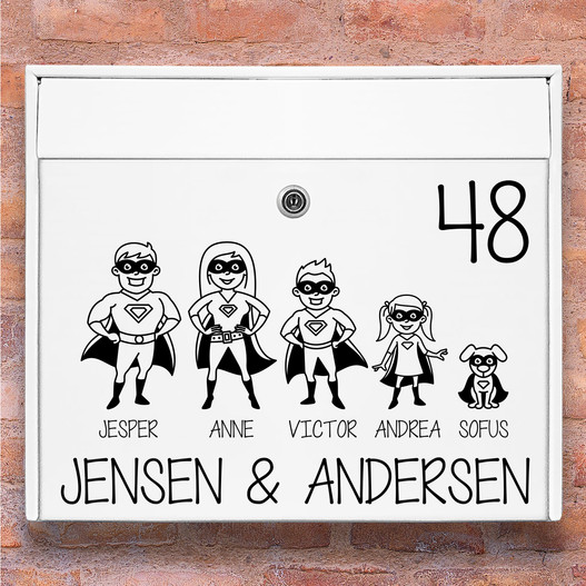 Superhelte wallsticker til postkasse sort
