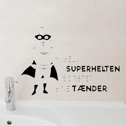Selv superhelten børster sine tænder wallsticker