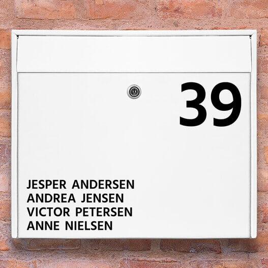 Postkasse stickers – #1 Navneskilt wallsticker til postkasse