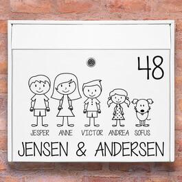 Postkasse stickers - #1 familie wallsticker til postkasse