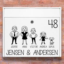 Postkasse stickers - #2 familie wallsticker til postkasse hvid