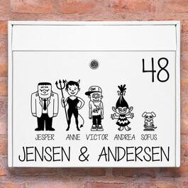 Postkasse stickers - Halloween familie wallsticker til postkasse hvid