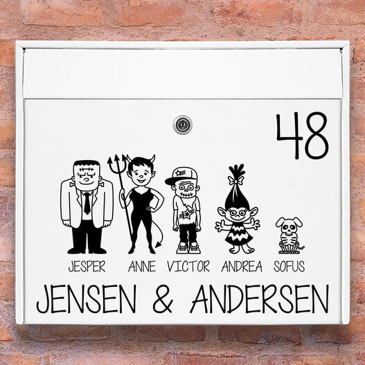 Postkasse stickers – Halloween familie wallsticker til postkasse hvid