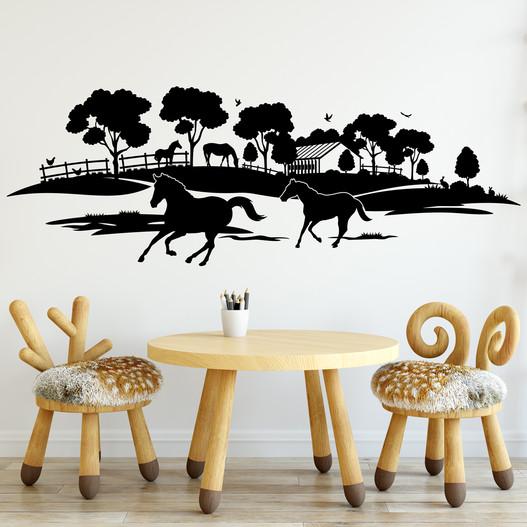Heste landskab wallsticker, heste wallstickers