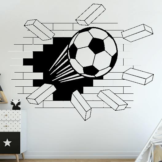3D fodbold væg wallsticker