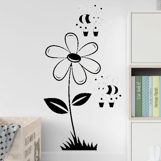 Blomst med bier wallstickers, flot wallsticker