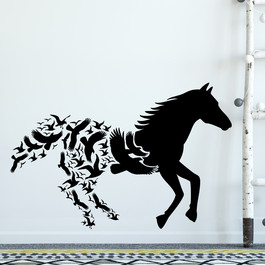 Hest med fugle wallsticker, heste wallstickers