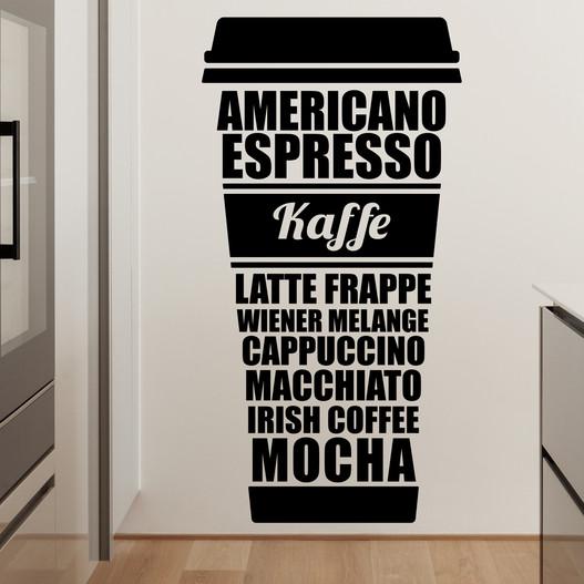 Kaffe wallsticker. Flot wallstickers med mange kaffetyper nævnt