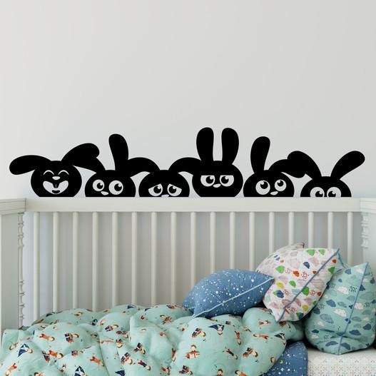 Kaniner på lur wallstickers. Sjov wallsticker til børneværelset