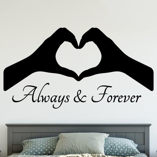 "Wallsticker med teksten ""Always & forever"". Flot wallstickers til soveværelset."