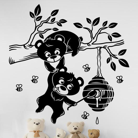 Bjørne finder honning på en gren wallsticker. Flot wallstickers til børneværelset