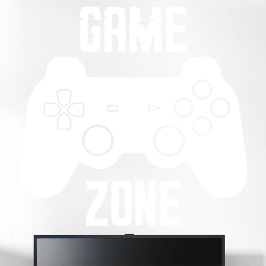 """Gamer wallsticker med teksten """"Game zone"""" og en konsol kontroller. Sej wallstickers til børneværelset"""