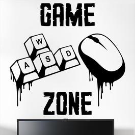 """Gamer wallsticker med teksten """"Game zone"""" og wasd taster & mus. Sej wallstickers til børneværelset"""