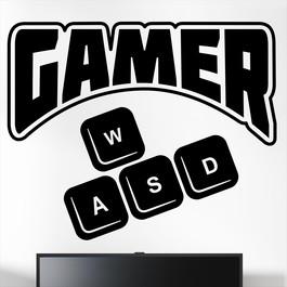 """Gamer wallsticker med teksten """"Gamer"""" tasterne wasd. Sej wallstickers til børneværelset"""