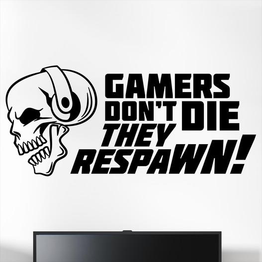 """Gamer wallsticker med teksten Gamers don't die they respawn!"""". Sej wallstickers til børneværelset"""