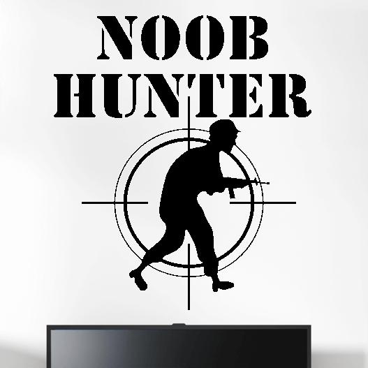 """Gamer wallsticker med teksten """"Noob hunter"""". Sej wallstickers til børneværelset"""