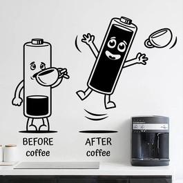 "Wallsticker med teksten ""Before coffee - after coffee"" og batterier der drikker kaffe. Flot wallstickers til køkkenet"