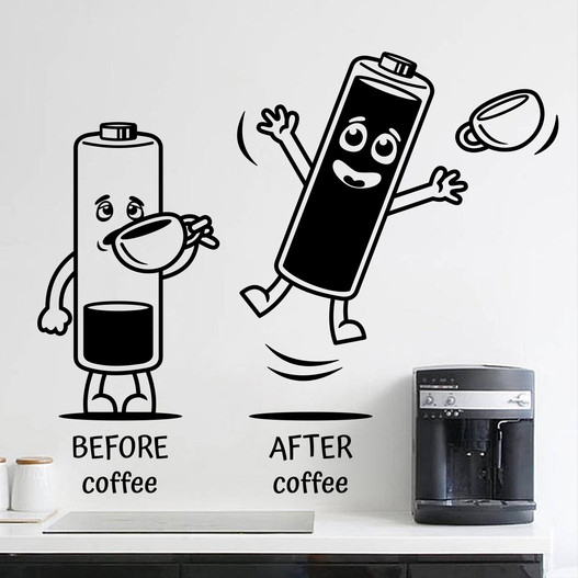 "Wallsticker med teksten ""Before coffee - after coffee"" og batterier der drikker kaffe. Flot wallstickers til køkkenet"