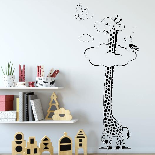 Giraf i skyerne wallsticker. Sjov wallstickers til børneværelset