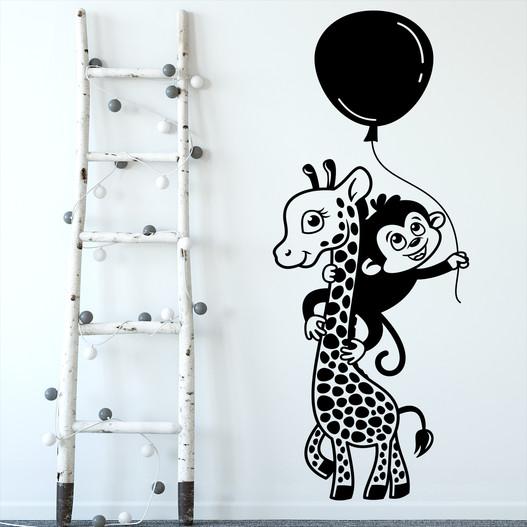 Giraf med abe wallsticker. Sød wallstickers til børneværelset