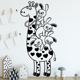 Giraf med kaniner wallsticker. Sød wallstickers til børneværelset